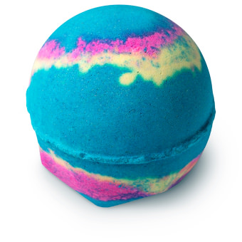 blue bath bomb with stripes of pink and yellow