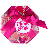Think Pink regalo de color rosa con lazo rosa