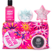 pink knot wrap with yellow red and white stars with pink shower gel pink wand pink bath bomb