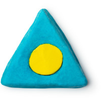 A blue triangular shaped bubble bar with a yellow circle in the middle