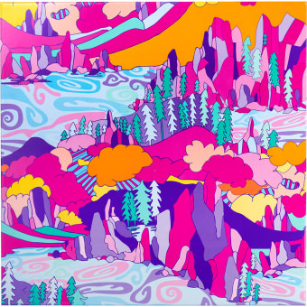 Colourful landscrape artwork on a large gift box