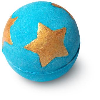 blue bath bomb with golden glittery stars inside