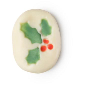 Olio da massaggio di Natale Holly Berry bianco di forma ovale con decorazione a forma di vischio