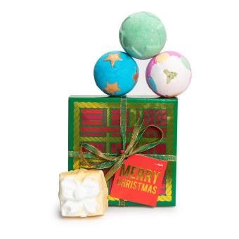 Confezione regalo di Natale Merry Christmas e il suo contenuto