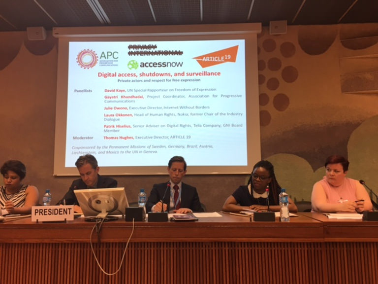 UNHRC side event on internet shutdowns