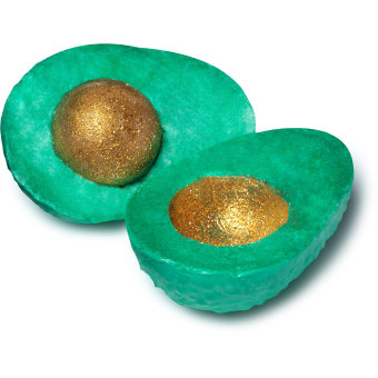 avocado shaped soap with glittery golden seed inside