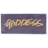 Goddess violette Waschkarte mit goldenem Schriftzug