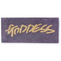 goddess é um sabonete em papel roxo com letras douradas para um duche divino