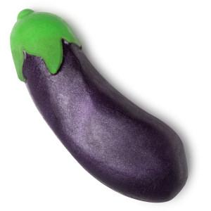 aubergine jabón en forma de emoji de berenjena de color verde y morado intenso