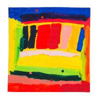 Ein buntes Tuch mit abstraktem Design in knalligen Farben