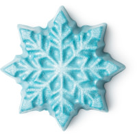 Sternförmige, glitzernde Körperbutter, blau mit Silberner Schneeflocke als Deko