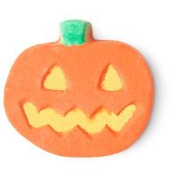 a pumpkin shaped bath bomb