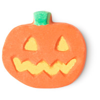 a pumpkin shaped bath bomb
