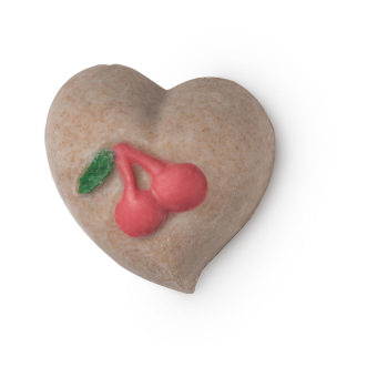 Cherryish body scrub in the shape of a heart