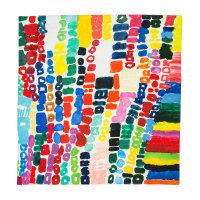 Knot wrap in cotone multicolore con stampa realizzata da Atelier Element Present