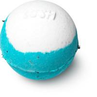 Bomba da bagno azzurra e bianca