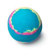 A deep blue, spherical bath bomb with a multicoloured galaxy design.