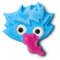 blue goblin with long tongue bubble bar