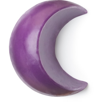 A purple moon shaped soap