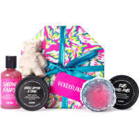 pink hat box gift with lush product surrounding