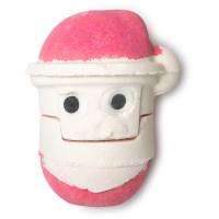 Ein Rote und weiße zweiteilige Badebombe in der Form eines Weihnachtsmannes