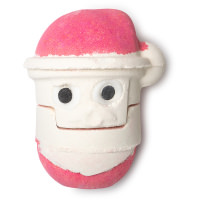 A red and white santa shaped bath bomb