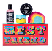 red gift box with 'best friend' written on it and products surrounding