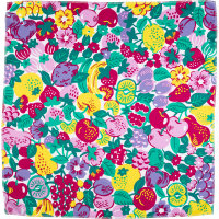 a floral pink, yellow and green knot wrap with flowers and fruit
