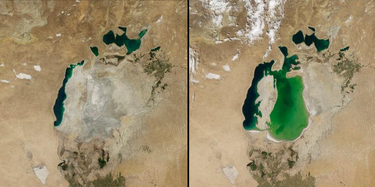 Aral Sea before and after - Nasa