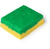 Ein grün-gelbes, rechteckiges Zuckerpeeling