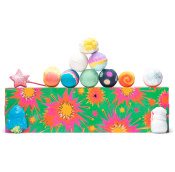 A pink rectangle with stars and bangs gift set with products on top