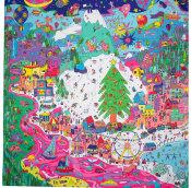 Tuch im Cartoon Stil mit bunten Bäumen Menschen Elfen und Dekorationen