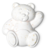 waving bear shaped bath bomb in white/cream colour