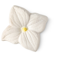 white and yellow flower shaped bubble bar