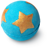 blue bath bomb with golden glittery stars inside