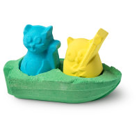 blue, green and yellow bath bomb in the design of the owl and the pussycat tale