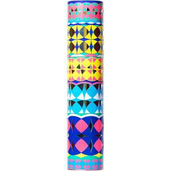 Yellow tube gift with kaleidoscope patterns