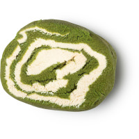 Matcha Roll burbuja de baño sin envase de color verde con blanco
