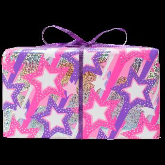 el envoltorio rosado con estrellas del regalo original ideal para el amigo invisible little snow fairy