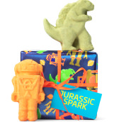 blue dinosaur and robot themed gift with products around it
