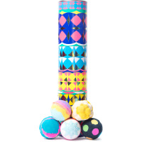 Yellow tube gift with kaleidoscope patterns with bath bombs stacked on outside of gift