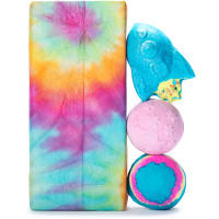 Cosmic lush gift on white background showing bath bombs inside called intergalactic, twilight and rocket science