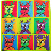 warhol style reindeer knot wrap in green and yellow