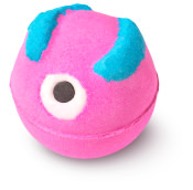 a image of a pink and blue bath bomb with a candy cane eye
