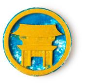 temple in the sky bomba de baño vegana de color azul y dorado con imagen de un templo en el centro