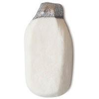 Weißes Schaumbad in der Form einer Milchflasche aus Glas mit Silberglitzerndem Deckel