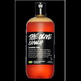 Die Flasche des Olive Branch Duschgels