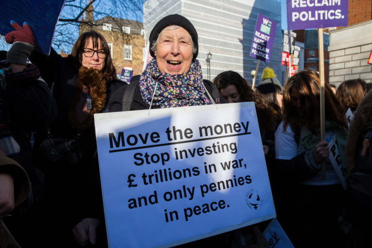Sheila Triggs from The Women's International League for Peace and Freedom, at the Women's March on London
