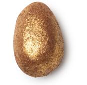 egg shaped bath bomb covered in gold glitter