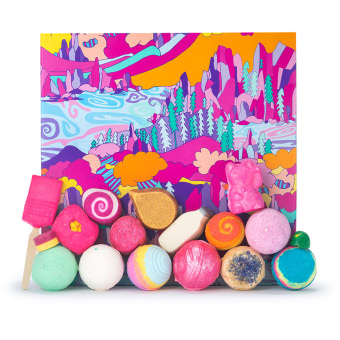 the art of bathing gift set with array of lush products on the outside